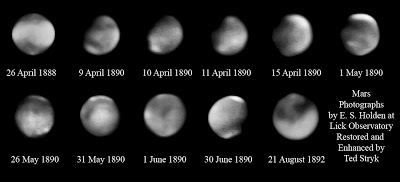 "Figure 1 - Earliest known to be extant images of the Planet Mars taken by E. Holden with the 36"" Reflector at Lick Observatory and subsequent enhanced by using modern image processing techniques by Ted Stryk and used with permisssion."