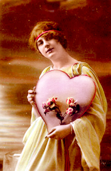 Figure 2 - The Big Pink Heart - postcard from c. 1910 and in the public domain.