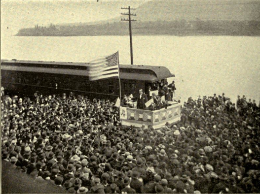 Figure 2 _ William Jennings Bryan campaigning in 1896 in Wellsville, OH. From the Wikimedia Commons and in the public domain because of its age.