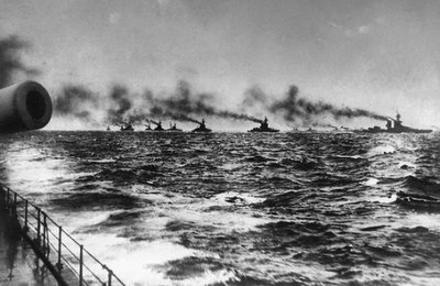 Figure 1 - The British Grand Fleet sails out to meet the German navy, May 30, 1916. In the public somain in the Unites States because of its age.