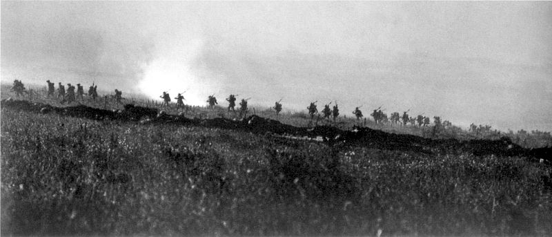 Figure 1 - The Tyneside Irish Brigade advancing on the first day of the Battle of the Somme, July 1, 1916. Taken by an official of the British government and in the public domain in the US and UK by virtue of its age.