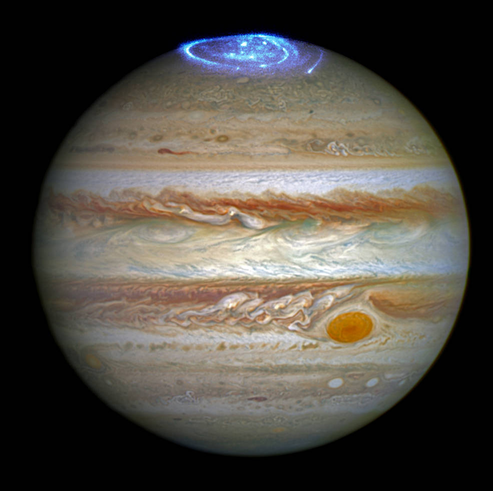 Figure 1 - Astronomers are using NASA's Hubble Space Telescope to study auroras — stunning light shows in a planet's atmosphere — on the poles of the largest planet in the solar system, Jupiter. Credits: NASA, ESA, and J. Nichols (University of Leicester)