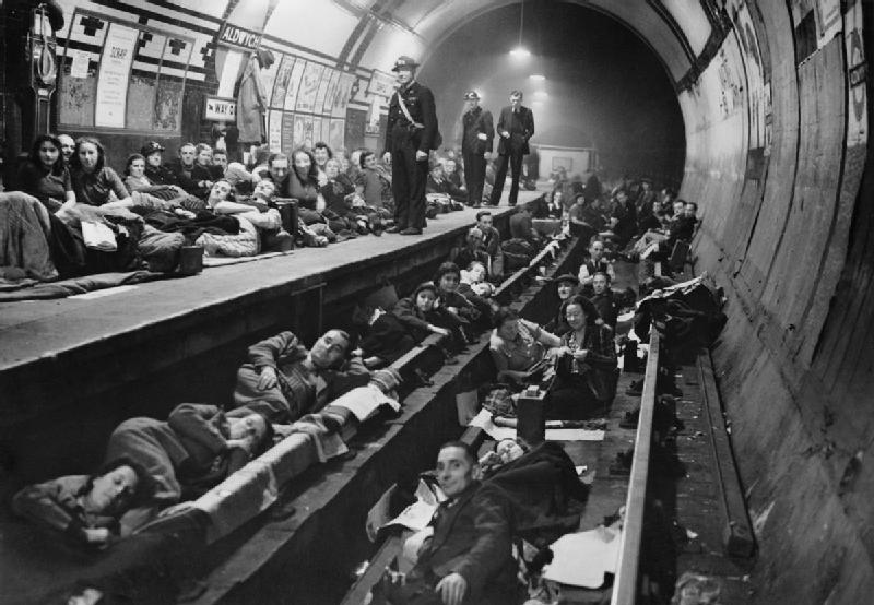 Figure 1 - People seeking shelter during an air raid in the London tube. From the Wikimedia Commons, released by the Imperial War Museums under  IWM Non Commercial Licence.