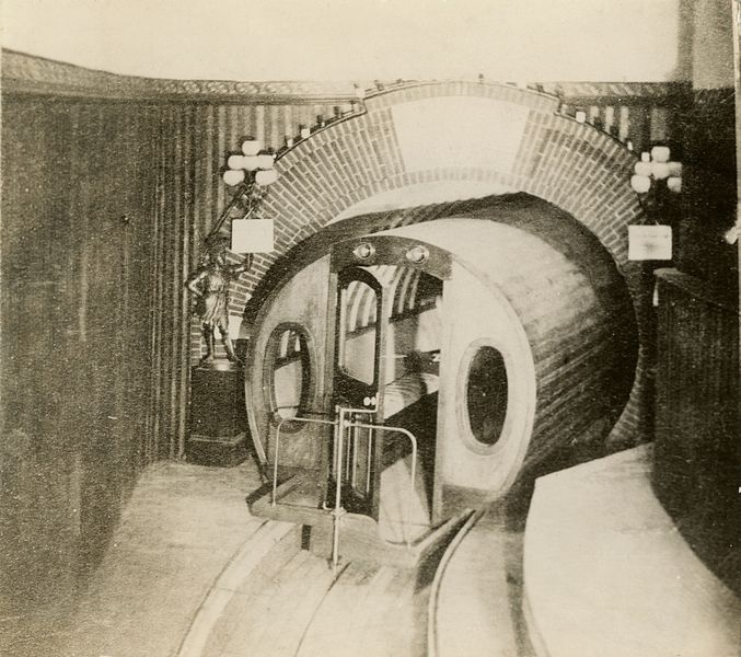 Figure 1 - Historic photograph of Beach's pneumatic transit showing both the tunnel and the car in 1873. From the Wikimedia Commons. Original in the archives of the New York Historical Society and in the public domain because its age.