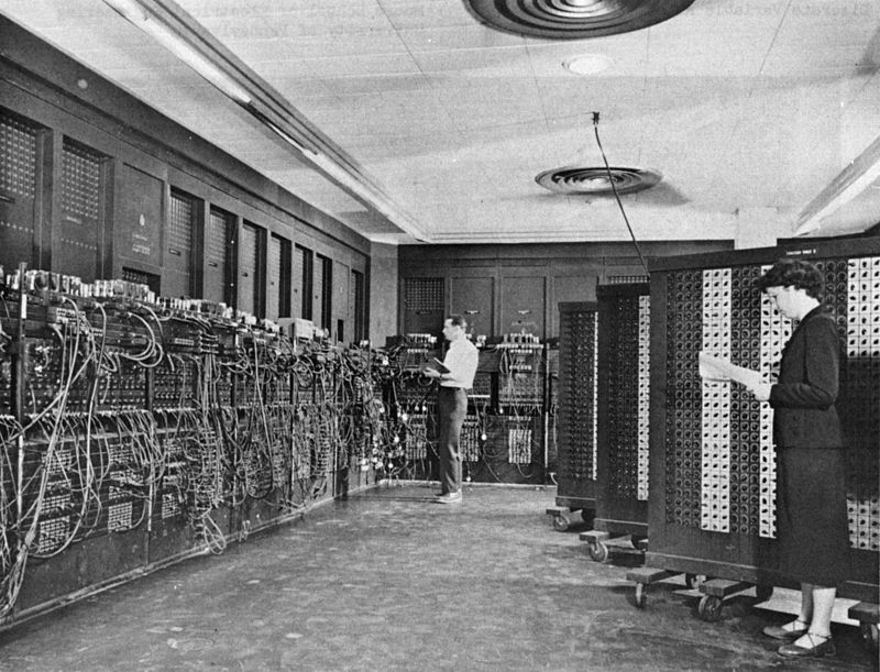 Figure 1 - The cyber other in its infancy. ENIAC (Electronic Numerical Integrator And Computer) in Philadelphia, Pennsylvania. Glen Beck (background) and Betty Snyder (foreground) program the ENIAC in building 328 at the Ballistic Research Laboratory (BRL). From the Wikipedia and in the public domain because image was taken by a US Government employee in an official capacity.