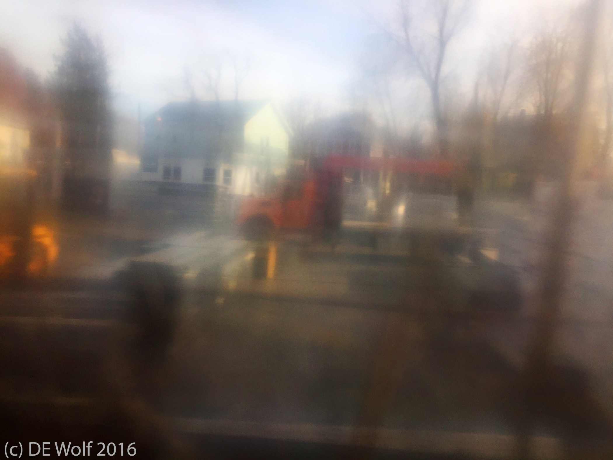 Figure 1 - Image through a dirty window on a moving train #2. IPhone photograph. (c) DE Wolf 2016.