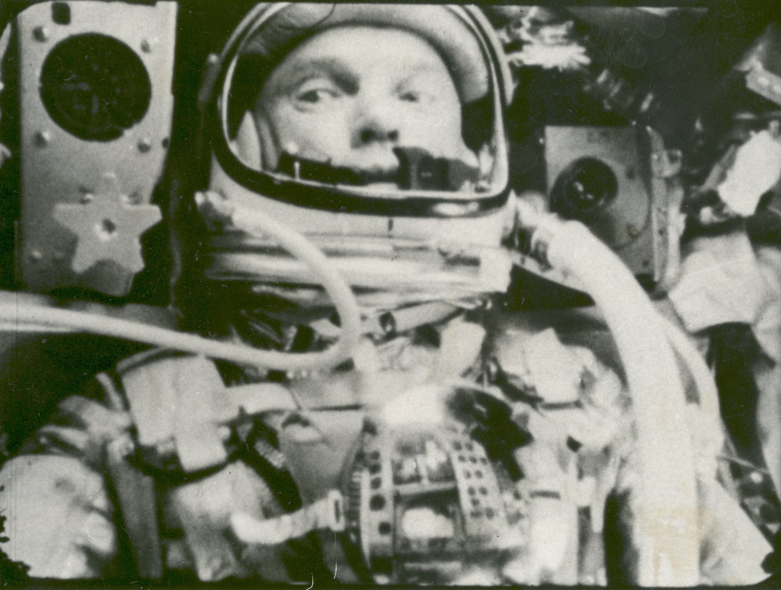 Figure 1 - John Glenn in orbit on the Friendship 7 Feb. 20, 1962. photographed automatic sequence motion picture camera. NASA Public domain. during